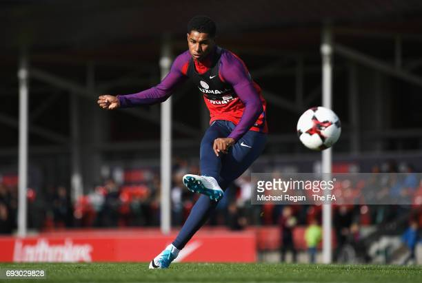 Marcus Rashford of England trains during England media access at St George's Park on June 6, 2017 in Burton-upon-Trent, England.
