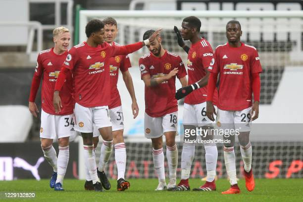 Marcus Rashford of Man Utd and Paul Pogba of Man Utd celebrate a goal during the Premier League match between Newcastle United and Manchester United...