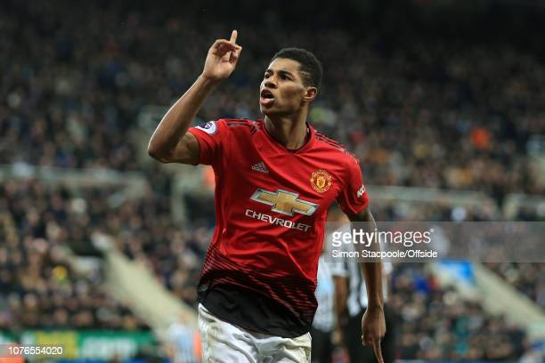 Marcus Rashford of Man Utd celebrates after scoring their 2nd goal during the Premier League match between Newcastle United and Manchester United at...