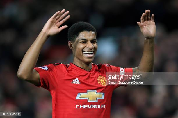 Marcus Rashford of Man Utd celebrates after scoring their 4th goal during the Premier League match between Manchester United and Fulham at Old...