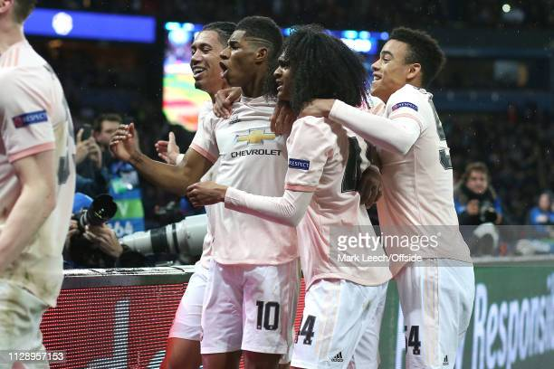 Marcus Rashford of Man Utd celebrates scoring the winning goal from the penalty spot with Chris Smalling, Tahith Chong and Mason Greenwood during the...
