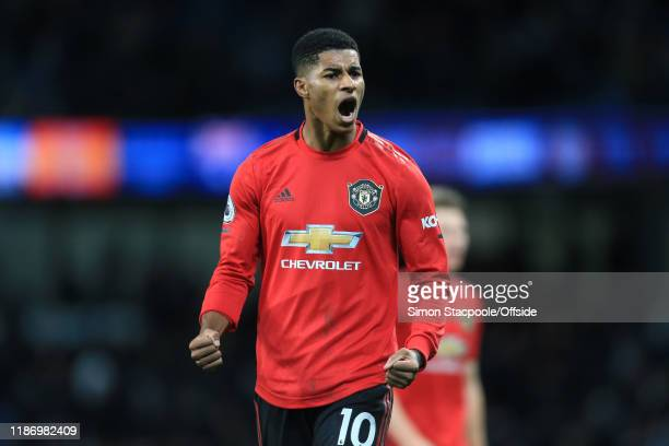 Marcus Rashford of Man Utd celebrates victory after the Premier League match between Manchester City and Manchester United at the Etihad Stadium on...