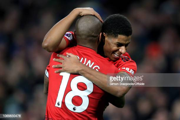 Marcus Rashford of Man Utd celebrates with Ashley Young of Man Utd after scoring their 4th goal during the Premier League match between Manchester...
