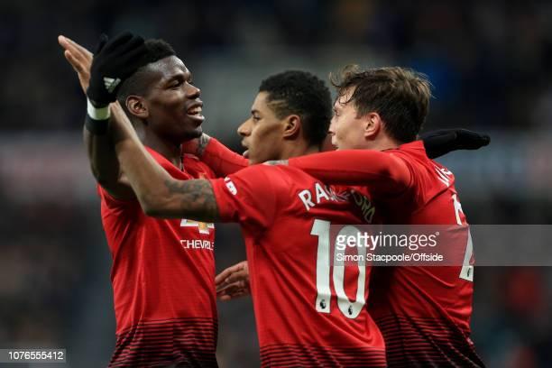 Marcus Rashford of Man Utd celebrates with teammates Paul Pogba of Man Utd and Victor Lindelof of Man Utd after scoring their 2nd goal during the...