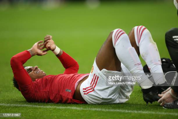 Marcus Rashford of Man Utd goes down injured during the Premier League match between Newcastle United and Manchester United at St James Park on...