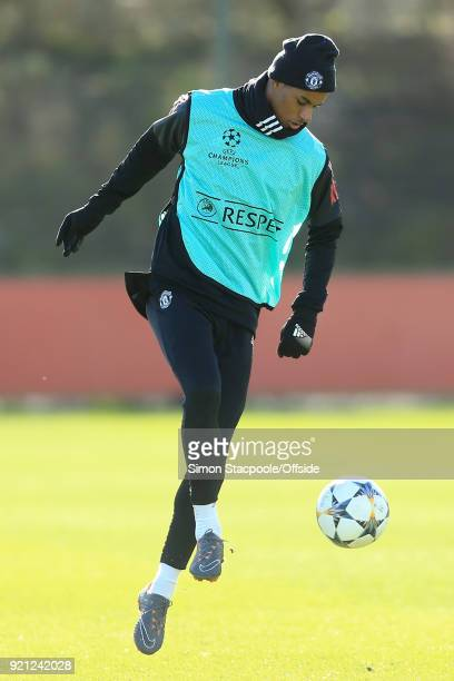 Marcus Rashford of Man Utd in action during a training session ahead of their UEFA Champions League match against Sevilla at the Aon Training Complex...