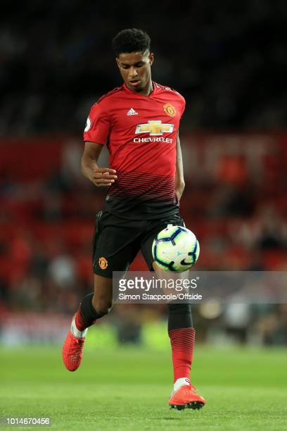 Marcus Rashford of Man Utd in action during the Premier League match between Manchester United and Leicester City at Old Trafford on August 10 2018...