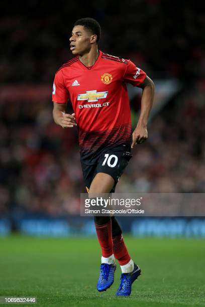 Marcus Rashford of Man Utd in action during the Premier League match between Manchester United and Fulham at Old Trafford on December 8 2018 in...