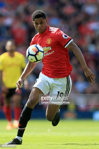 Marcus Rashford of Man Utd in action during the Premier League match between Manchester United and Watford at Old Trafford on May 13 2018 in...