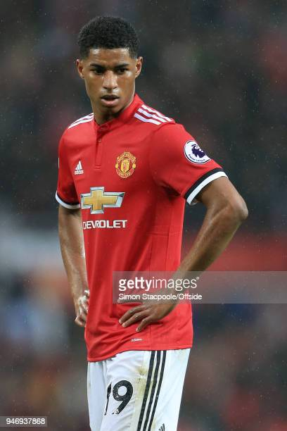 Marcus Rashford of Man Utd looks dejected during the Premier League match between Manchester United and West Bromwich Albion at Old Trafford on April...