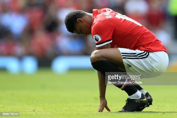 Marcus Rashford of Man Utd looks dejected during the Premier League match between Manchester United and Watford at Old Trafford on May 13 2018 in...