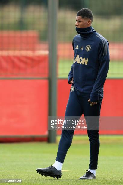 Marcus Rashford of Man Utd looks on during a training session ahead of their UEFA Champions League Group H match against Valencia at the Aon Training...