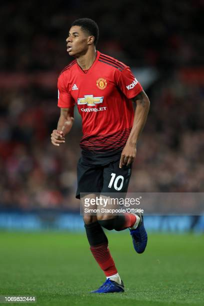Marcus Rashford of Man Utd looks on during the Premier League match between Manchester United and Fulham at Old Trafford on December 8 2018 in...