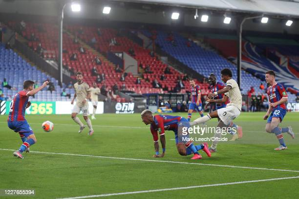 Marcus Rashford of Man Utd scores their 1st goal during the Premier League match between Crystal Palace and Manchester United at Selhurst Park on...