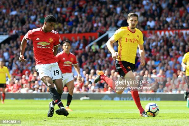 Marcus Rashford of Man Utd scores their 1st goal during the Premier League match between Manchester United and Watford at Old Trafford on May 13 2018...
