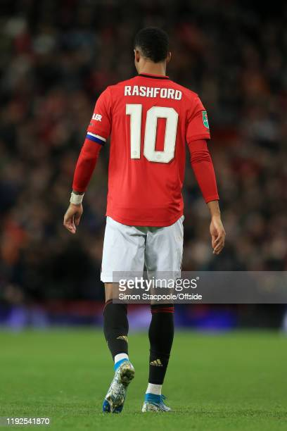 Marcus Rashford of Man Utd walks away during the Carabao Cup Semi Final match between Manchester United and Manchester City at Old Trafford on...