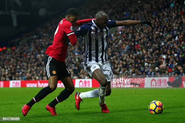 Marcus Rashford of Manchester United and Allan Nyom of West Bromwich Albion in action during the Premier League match between West Bromwich Albion...