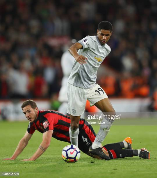 Marcus Rashford of Manchester United and Dan Gosling of AFC Bournemouth battle for possession during the Premier League match between AFC Bournemouth...