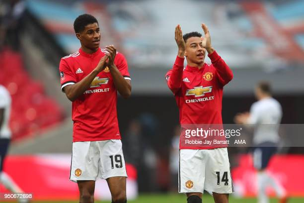 Marcus Rashford of Manchester United and Jesse Lingard of Manchester United celebrate at full time during The Emirates FA Cup Semi Final match...