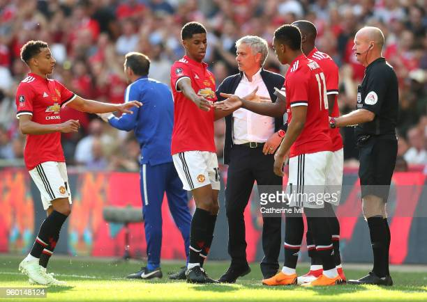 Marcus Rashford of Manchester United and Jesse Lingard of Manchester United are substituted off as Anthony Martial of Manchester United and Romelu...