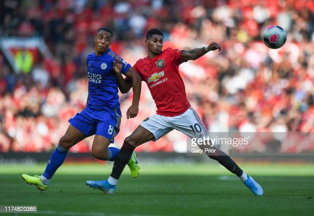 Marcus Rashford of Manchester United and Youri Tielemans of Leicester City in action during the Premier League match between Manchester United and...