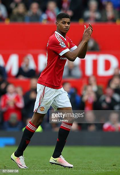 Marcus Rashford of Manchester United applauds fans during the Barclays Premier League match between Manchester United and Aston Villa at Old Trafford...