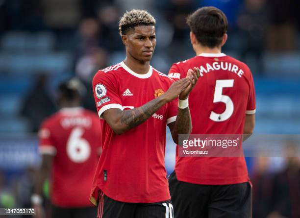 Marcus Rashford of Manchester United applauds the fans after the Premier League match between Leicester City and Manchester United at The King Power...
