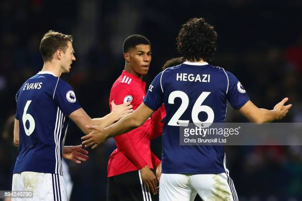 Marcus Rashford of Manchester United argues with Ahmed Hegazi of West Bromwich Albion with during the Premier League match between West Bromwich...