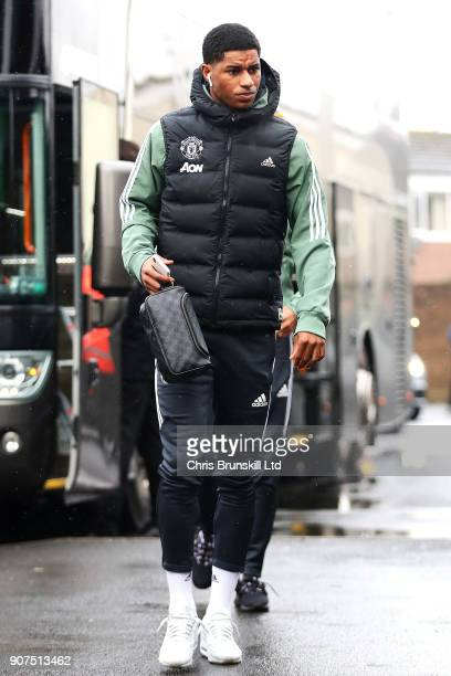 Marcus Rashford of Manchester United arrives ahead of the Premier League match between Burnley and Manchester United at Turf Moor on January 20 2018...