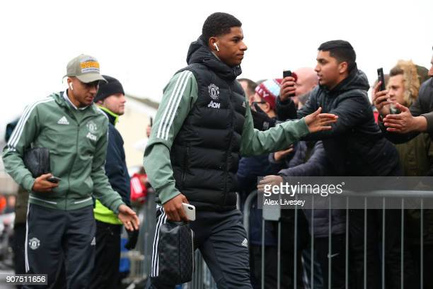 Marcus Rashford of Manchester United arrives at the stadium prior to the Premier League match between Burnley and Manchester United at Turf Moor on...