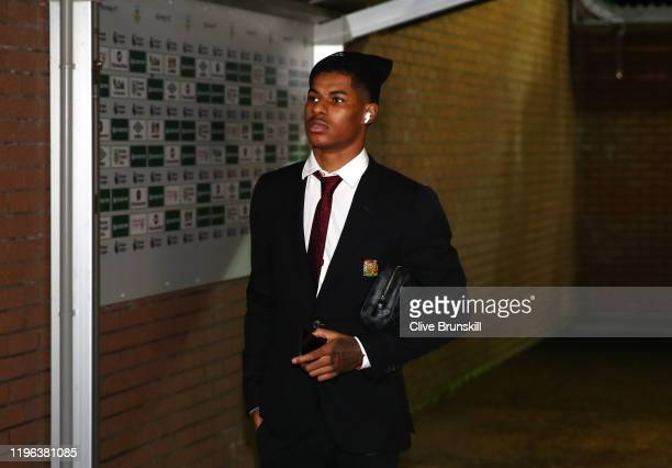 Marcus Rashford of Manchester United arrives for the Premier League match between Burnley FC and Manchester United at Turf Moor on December 28, 2019...