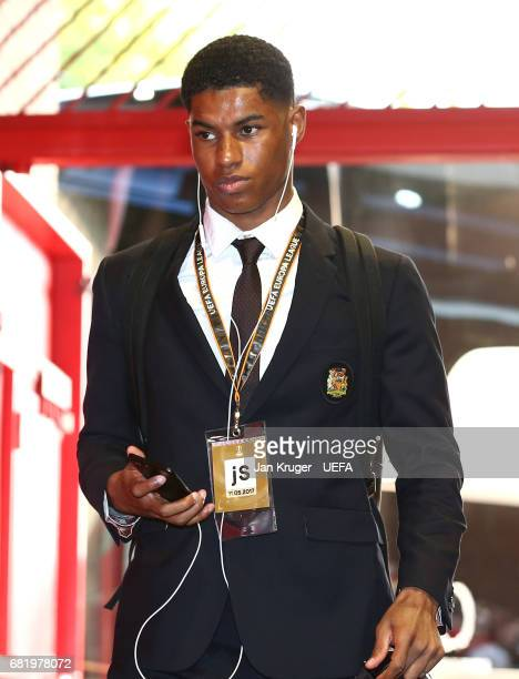 Marcus Rashford of Manchester United arrives prior to the UEFA Europa League semi final second leg match between Manchester United and Celta Vigo at...