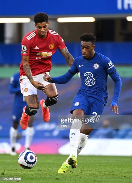 Marcus Rashford of Manchester United battles for possession with Callum Hudson-Odoi of Chelsea during the Premier League match between Chelsea and...
