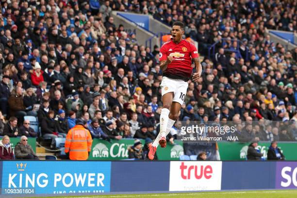 Marcus Rashford of Manchester United celebrates after scoring a goal to make it 10 during the Premier League match between Leicester City and...