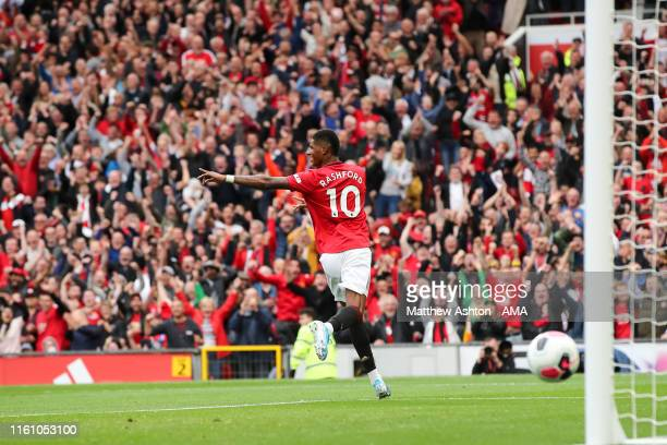 Marcus Rashford of Manchester United celebrates after scoring a goal to make it 30 during the Premier League match between Manchester United and...