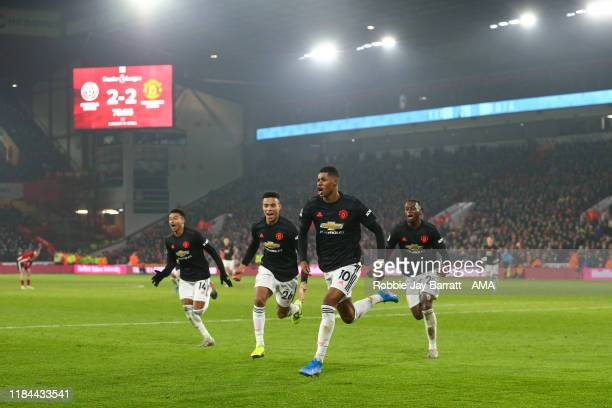 Marcus Rashford of Manchester United celebrates after scoring a goal to make it 23 during the Premier League match between Sheffield United and...