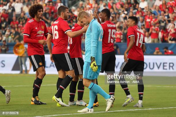 Marcus Rashford of Manchester United celebrates after scoring a goal to make it 01 during to the friendly fixture between LA Galaxy and Manchester...