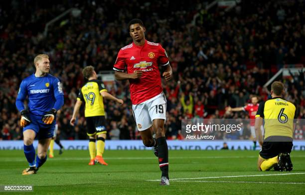 Marcus Rashford of Manchester United celebrates after scoring during the Carabao Cup Third Round match between Manchester United and Burton Albion at...