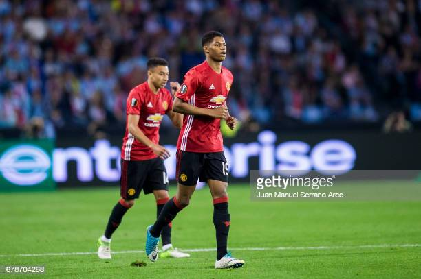 Marcus Rashford of Manchester United celebrates after scoring goal during the Uefa Europa League semi final first leg match between Real Club Celta...