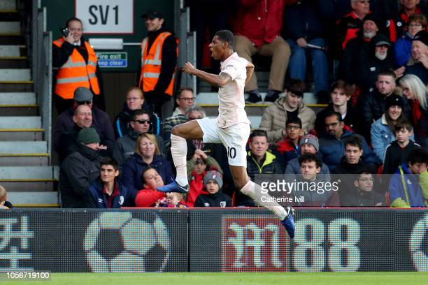 Marcus Rashford of Manchester United celebrates after scoring his team's second goal during the Premier League match between AFC Bournemouth and...