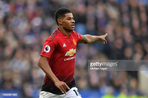 Marcus Rashford of Manchester United celebrates after scoring his team's first goal during the Premier League match between Leicester City and...