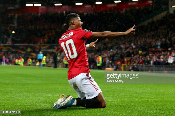 Marcus Rashford of Manchester United celebrates after scoring his team's third goal during the UEFA Europa League group L match between Manchester...