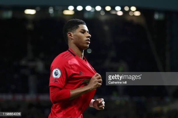Marcus Rashford of Manchester United celebrates after scoring his team's second goal during the Premier League match between Manchester United and...