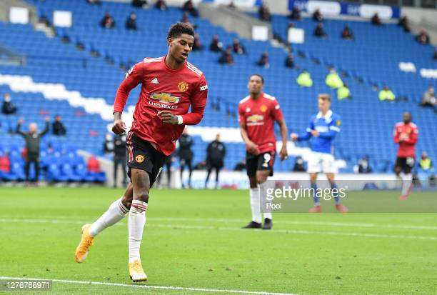 Marcus Rashford of Manchester United celebrates after scoring his team's second goal during the Premier League match between Brighton & Hove Albion...