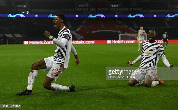Marcus Rashford of Manchester United celebrates after scoring his sides second goal during the UEFA Champions League Group H stage match between...