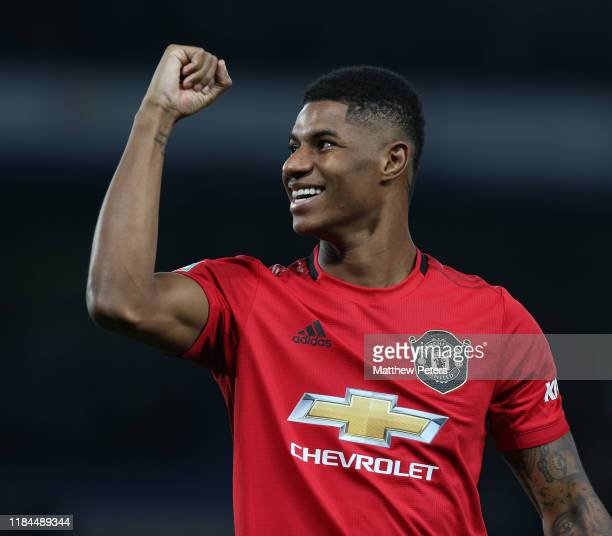 Marcus Rashford of Manchester United celebrates after the Carabao Cup Round of 16 match between Chelsea FC and Manchester United at Stamford Bridge...