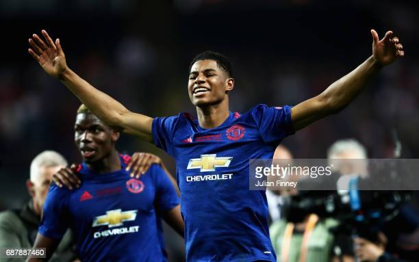 Marcus Rashford of Manchester United celebrates after the UEFA Europa League Final between Ajax and Manchester United at Friends Arena on May 24 2017...