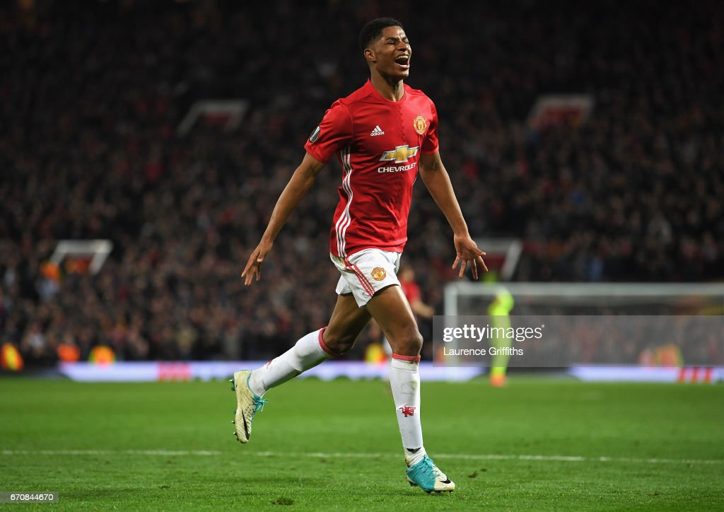 Marcus Rashford of Manchester United celebrates as he scores their second goal during the UEFA Europa League quarter final second leg match between Manchester United and RSC Anderlecht at Old Trafford on April 20, 2017 in Manchester, United Kingdom.