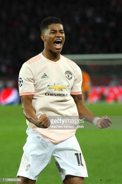 Marcus Rashford of Manchester United celebrates scoring a goal to make the score 13 during the UEFA Champions League Round of 16 Second Leg match...