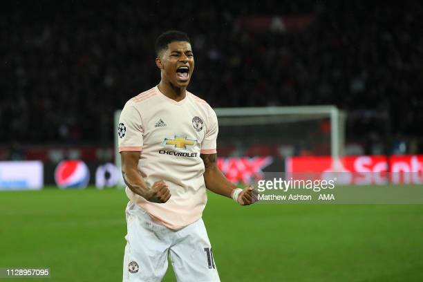 Marcus Rashford of Manchester United celebrates scoring a goal to make the score 1-3 during the UEFA Champions League Round of 16 Second Leg match...